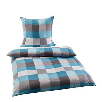 BETTWÄSCHE Mikrofaser Grau, Türkis, Weiß 135/200 cm - Türkis/Weiß, KONVENTIONELL, Textil (135/200cm) - Boxxx
