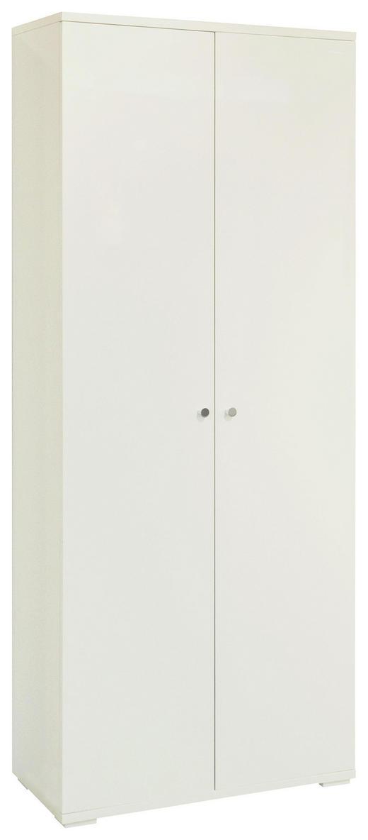 SCHUHSCHRANK Hochglanz, lackiert Weiß - Chromfarben/Weiß, Design, Holzwerkstoff/Metall (80/197/37cm) - Xora