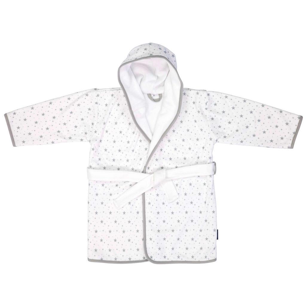 Weißer Kinderbademantel mit grauen Sternen