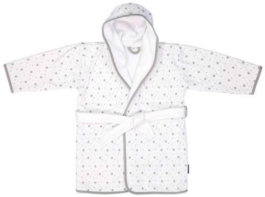 KINDERBADEMANTEL  Grau, Weiß - Weiß/Grau, Basics, Textil (86/92) - Bebe Jou