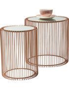 BEISTELLTISCHSET rund Kupferfarben  - Kupferfarben, Design, Glas/Metall - Kare-Design