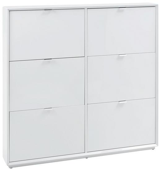 SCHUHSCHRANK Hochglanz Edelstahlfarben, Weiß - Edelstahlfarben/Weiß, Design, Metall (127/122/18cm) - Xora