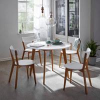 STUHL-SET Kautschukholz massiv Naturfarben, Weiß - Weiß/Naturfarben, LIFESTYLE, Holz (46/78/55,5cm) - Xora