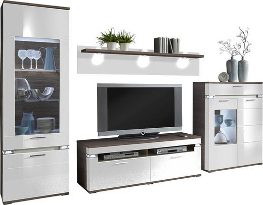 WOHNWAND Braun, Grau, Weiß - Alufarben/Braun, Design, Glas/Holzwerkstoff (335,3/207,4/50,8cm) - Stylife