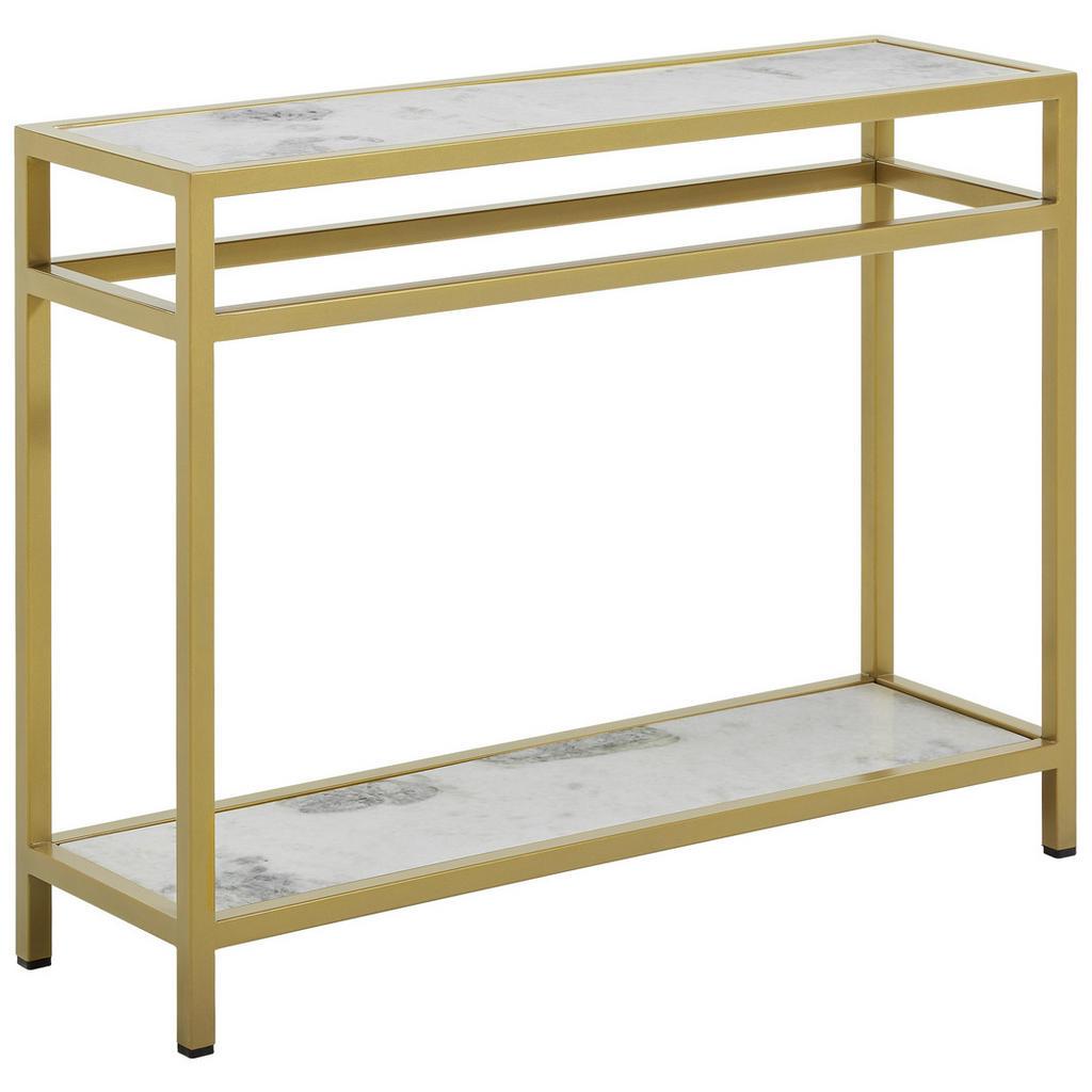 Ambia Home Konsolentisch , Grau, Weiß, Gold , Metall, Stein , rechteckig , 100x76x30 cm , rostfrei , Wohnzimmer, Wohnzimmertische, Konsolentische