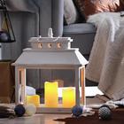 Laterne inkl. LED-Kerzen weiß - Weiß, Trend, Holz (20/40/52cm)