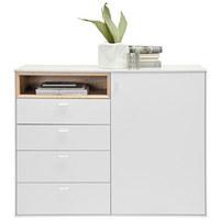 BYRÅ - vit/silver, Design, träbaserade material/plast (121/92,8/43cm) - Hom`in