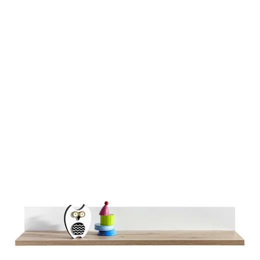REGÁL NÁSTĚNNÝ - bílá/barvy dubu, Konvenční, kompozitní dřevo (90/13,9/21,6cm) - Paidi
