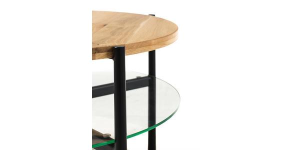 COUCHTISCH in Holz, Metall, Glas 77/77/43 cm   - Eichefarben/Schwarz, Design, Glas/Holz (77/77/43cm) - Hom`in