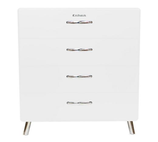KOMMODE lackiert Weiß - Chromfarben/Weiß, Design, Metall (86/92/43cm) - Carryhome