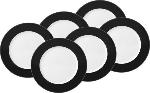 DESSERTTELLERSET Keramik Porzellan 6-teilig - Schwarz/Weiß, Basics, Keramik (20cm)