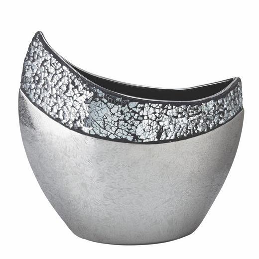 VASE 31 cm - Silberfarben/Weiß, Basics, Keramik (31cm) - Ambia Home