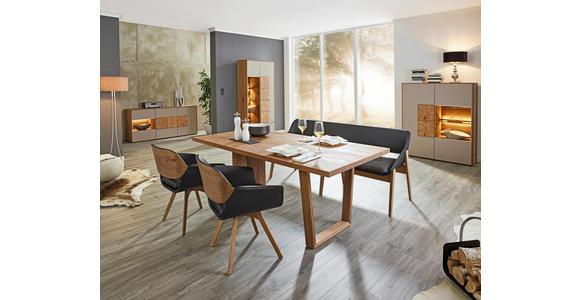 WOHNWAND Kerneiche vollmassiv Eichefarben, Fango  - Fango/Eichefarben, Design, Glas/Holz (343/188/49cm) - Valnatura