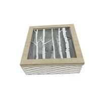SCHMUCKBOX - Weiß/Pinienfarben, LIFESTYLE, Glas/Holz (20/20/8,5cm) - Ambia Home