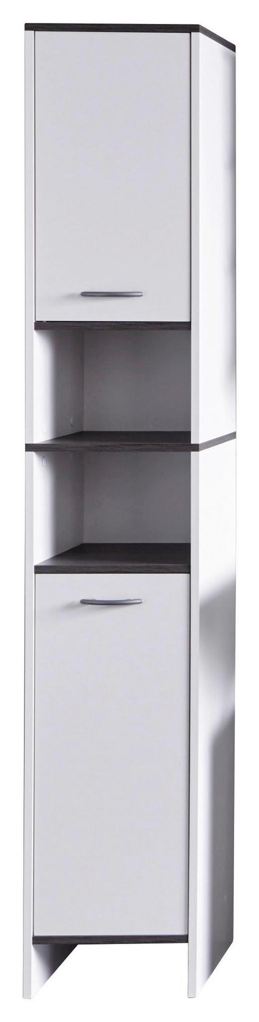 HOCHSCHRANK Grau, Weiß - Silberfarben/Weiß, KONVENTIONELL, Holzwerkstoff/Kunststoff (32/180/28cm) - Xora