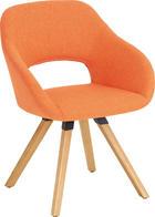 STUHL Wildeiche massiv Eichefarben, Orange - Eichefarben/Orange, Design, Holz/Textil (62/80/60cm) - VALNATURA