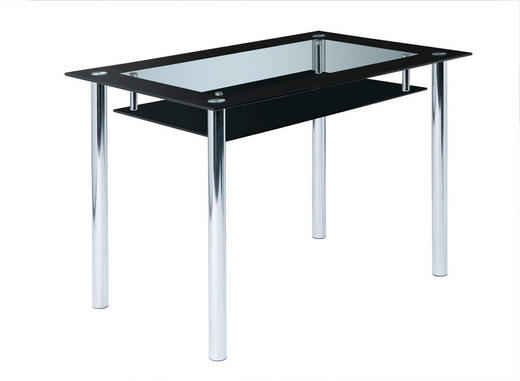 ESSTISCH Schwarz, Transparent - Transparent/Schwarz, Design, Glas/Metall (110/70/75cm) - Carryhome