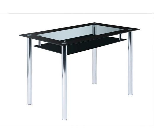 ESSTISCH rechteckig Schwarz, Transparent - Transparent/Schwarz, Design, Glas/Metall (110/70/75cm) - Carryhome