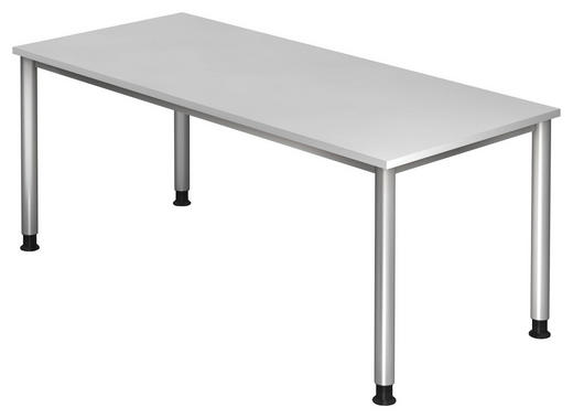 SCHREIBTISCH - Silberfarben/Weiß, KONVENTIONELL, Holzwerkstoff/Metall (180/68-76/80cm)