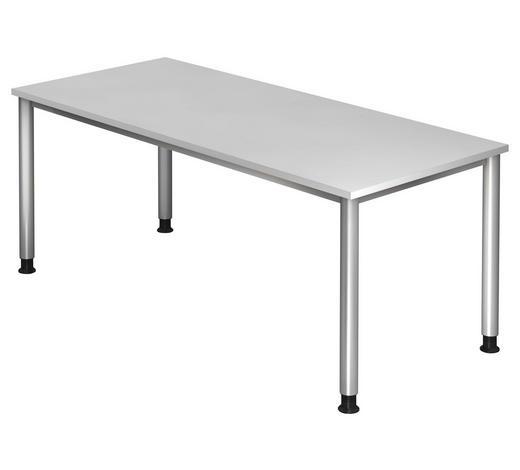 SCHREIBTISCH in Metall, Holzwerkstoff 180/68-76/80 cm  - Silberfarben/Weiß, KONVENTIONELL, Holzwerkstoff/Metall (180/68-76/80cm)