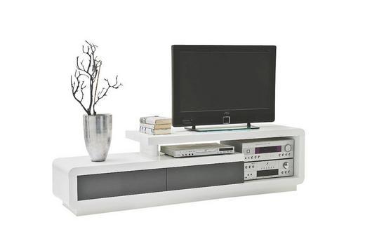 LOWBOARD Hochglanz, lackiert Grau, Weiß - Weiß/Grau, Design (170/45/40cm)