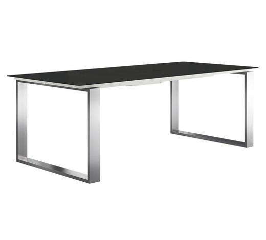 ESSTISCH rechteckig Schwarz, Edelstahlfarben - Edelstahlfarben/Schwarz, Design, Glas/Metall (220/100/75cm) - Now by Hülsta