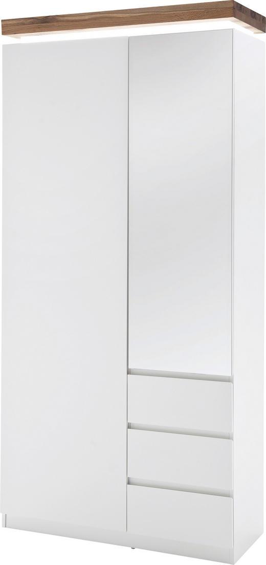GARDEROBENSCHRANK matt Weiß - Eichefarben/Weiß, Design, Glas/Holz (91/198/38cm)