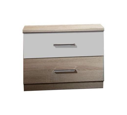 NOČNÍ STOLEK, bílá, barvy dubu - bílá/barvy dubu, Design, kompozitní dřevo/umělá hmota (52/40/38cm) - Carryhome