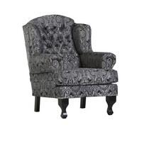 FOTELJ  črna, siva tekstil - črna/siva, Konvencionalno, tekstil/les (87/107/49/96cm) - Carryhome