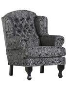 FOTELJ,  črna, siva tekstil - črna/siva, Konvencionalno, tekstil/les (87/107/49/96cm) - Carryhome