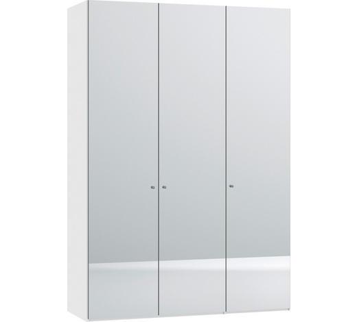 DREHTÜRENSCHRANK in Weiß - Silberfarben/Weiß, Design, Glas/Holzwerkstoff (152,2/220/37,5cm) - Jutzler