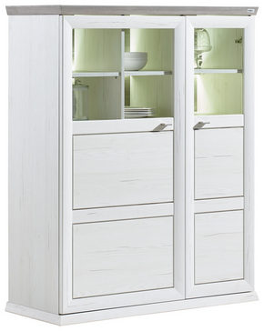 HIGHBOARD - vit/nickelfärgad, Lifestyle, metall/glas (110/134/43cm) - Hom`in