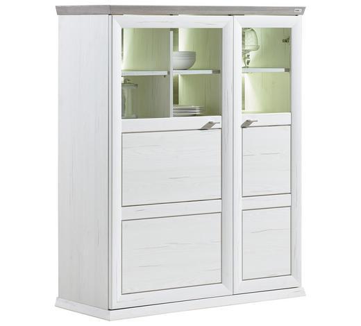 HIGHBOARD 110/134/43 cm - Weiß/Grau, LIFESTYLE, Glas/Holzwerkstoff (110/134/43cm) - Hom`in