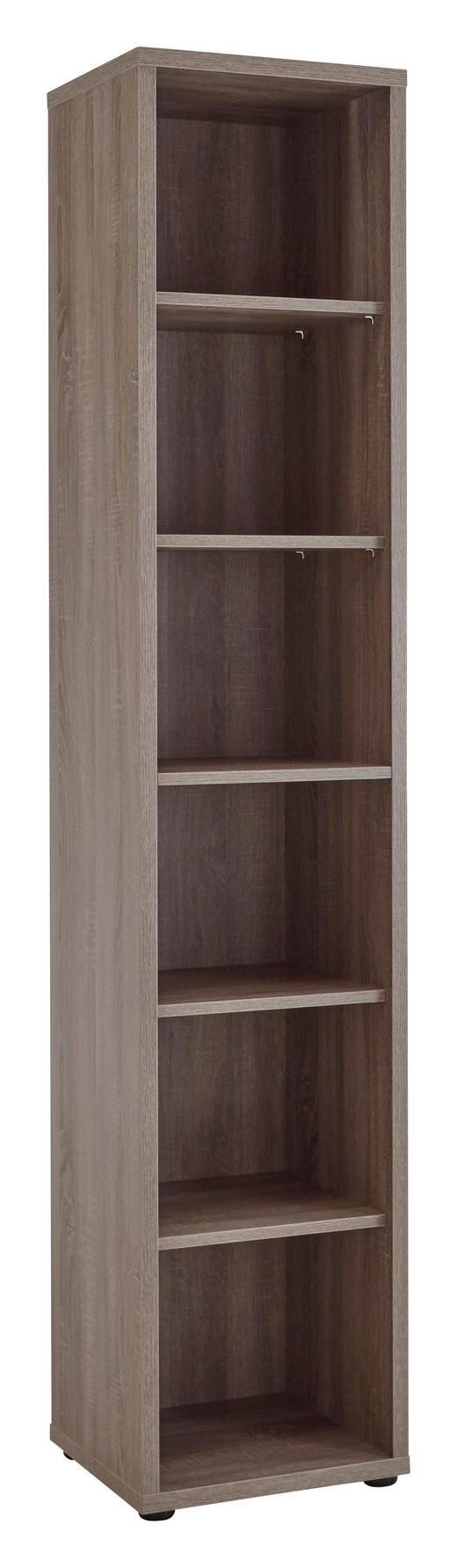 AKTENREGAL Trüffeleichefarben - Trüffeleichefarben/Schwarz, Design, Holzwerkstoff/Kunststoff (43,9/215,2/40cm) - Voleo