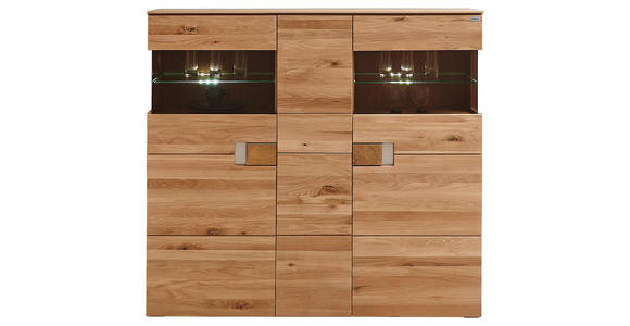 HIGHBOARD 155/142,9/38 cm  - Eichefarben/Transparent, KONVENTIONELL, Glas/Holz (155/142,9/38cm) - Cantus