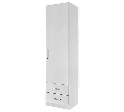 DREHTÜRENSCHRANK in Weiß - Silberfarben/Weiß, Design, Holzwerkstoff/Kunststoff (47/197/54cm) - Carryhome