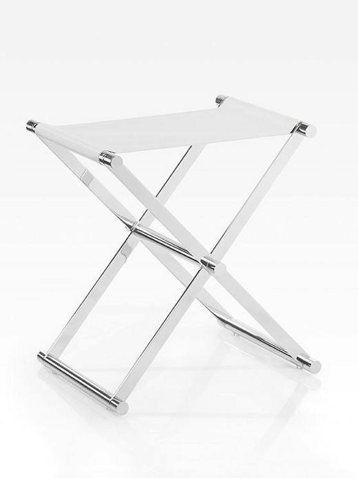 KLAPPHOCKER Chromfarben, Weiß - Chromfarben/Weiß, Design, Textil/Metall (34,5/45/45cm) - Joop!