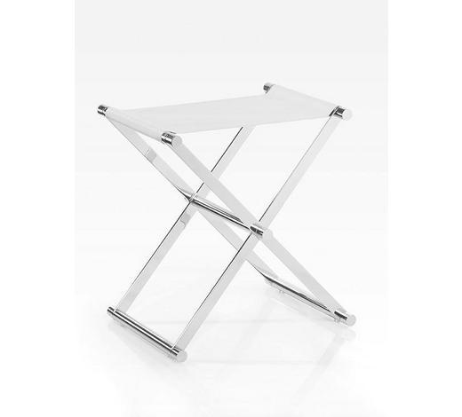 KLAPPHOCKER Weiß, Chromfarben  - Chromfarben/Weiß, Design, Textil/Metall (34,5/45/45cm) - Joop!