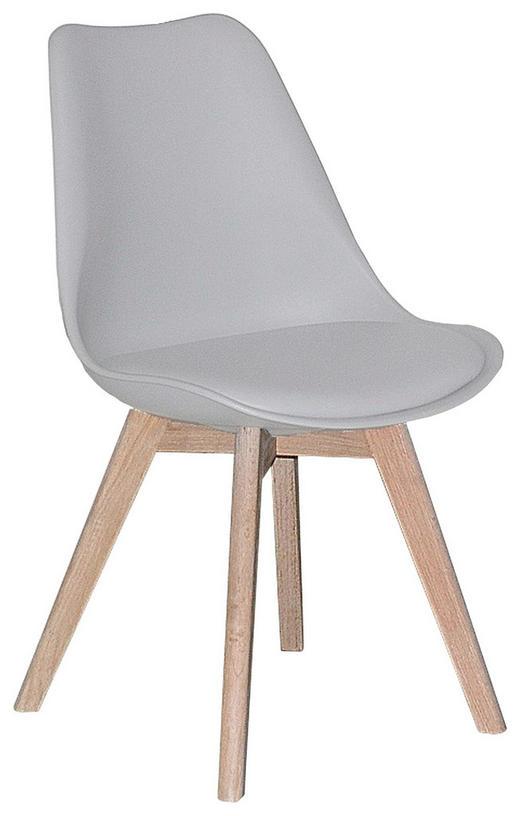 STUHL Lederlook Eiche massiv Eichefarben, Weiß - Eichefarben/Weiß, Design, Holz/Textil (48,5/84/54,5cm) - Carryhome