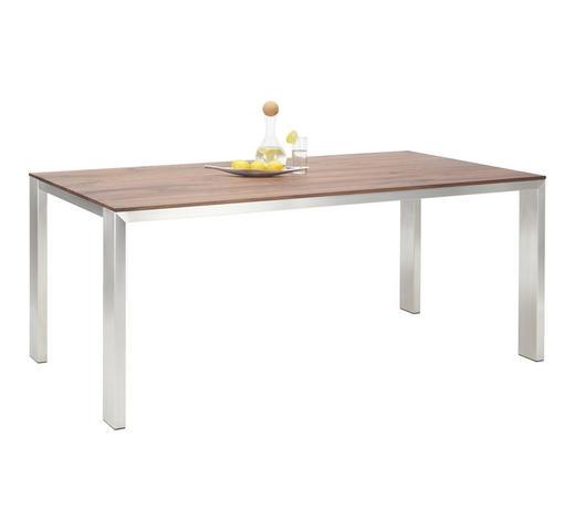 ESSTISCH in Holz, Metall 160/100/77 cm - Edelstahlfarben/Nussbaumfarben, Design, Holz/Metall (160/100/77cm) - Bert Plantagie