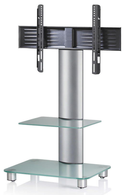 TV-RACK Silberfarben, Transparent - Transparent/Silberfarben, KONVENTIONELL, Glas/Metall (60/100/44cm)