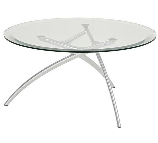 COUCHTISCH rund Alufarben, Transparent  - Transparent/Alufarben, Design, Glas/Metall (90/44cm) - Stressless