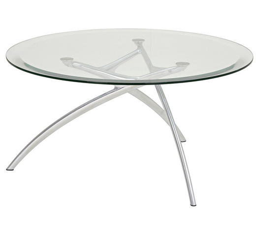 COUCHTISCH in Metall, Glas  90/44 cm - Transparent/Alufarben, Design, Glas/Metall (90/44cm)