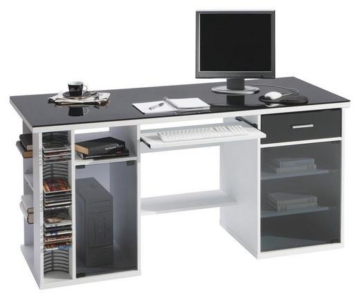 COMPUTERTISCH Schwarz, Weiß - Silberfarben/Schwarz, Design, Glas/Kunststoff (160/76/70cm) - XORA