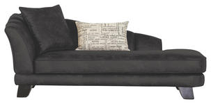 CHAISELONGUE in Textil Dunkelgrau  - Dunkelgrau/Dunkelbraun, Design, Holz/Textil (202/80/103cm) - Novel