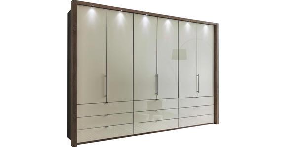FALTTÜRENSCHRANK in Creme, Trüffeleichefarben  - Trüffeleichefarben/Creme, KONVENTIONELL, Glas/Holzwerkstoff (300/216/58cm) - Venda