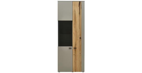 VITRINE in furniert, Hartholz Balkeneiche Eichefarben, Fango  - Fango/Eichefarben, Design, Glas/Holz (73,2/196,8/41,2cm) - Dieter Knoll