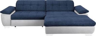 WOHNLANDSCHAFT in Textil Blau, Weiß  - Chromfarben/Blau, Design, Textil/Metall (265/180cm) - Carryhome