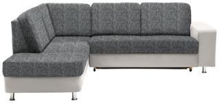 WOHNLANDSCHAFT in Textil Grau, Weiß - Chromfarben/Weiß, KONVENTIONELL, Kunststoff/Textil (198/253cm) - Xora