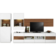 WOHNWAND In Akaziefarben, Weiß   Schwarz/Weiß, Design, Glas/Holzwerkstoff (